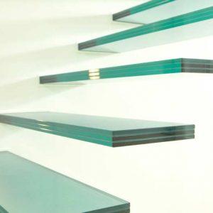 Glazen zwevende design trap